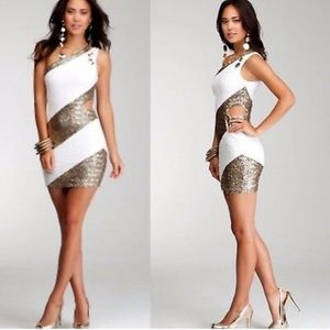 Bebe white/gold micro sequin cut out bodycon dress
